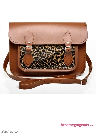 Chestnut Leather with Leopard Faux Fur Satchel