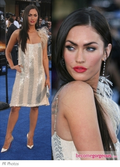 To the 2013 Golden Globes nominations Megan Fox opted for a Giambattista Valli printed silk dress from the designer's resort 2013 collection. Christian Louboutin nude 'Lady Peep' complete the look.
