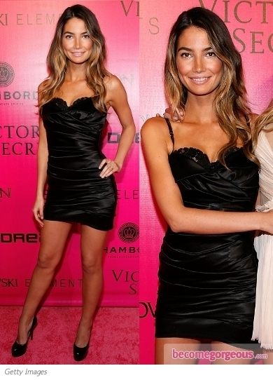 Lily Aldridge in Black Satin LBD