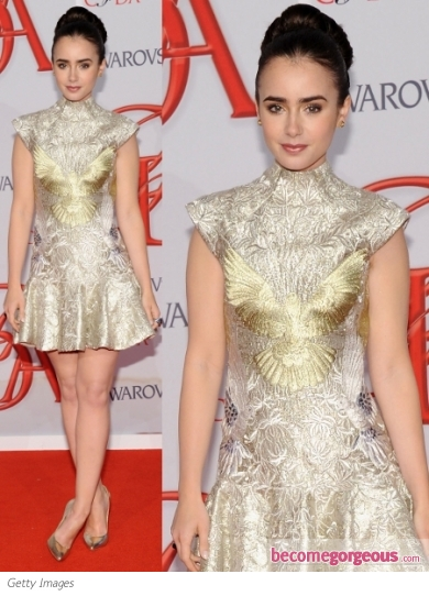 Lily Collins in Marchesa Dress