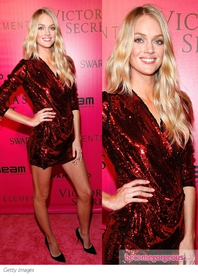 Lindsay Ellingson in Red Sequin Wrap Dress