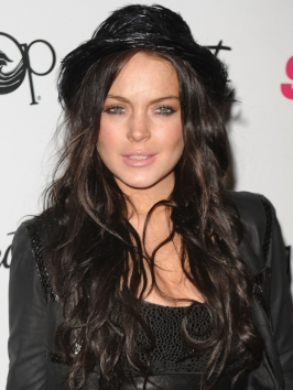 Lindsay Lohan Dark Brown Hairstyle