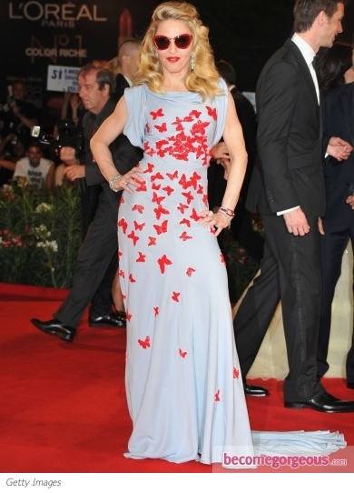 Madonna in Vionnet Butterfly Print Gown