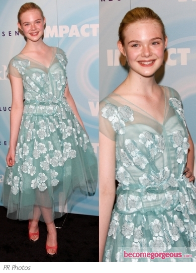 Elle Fanning in Marc Jacobs Floral Applique Dress