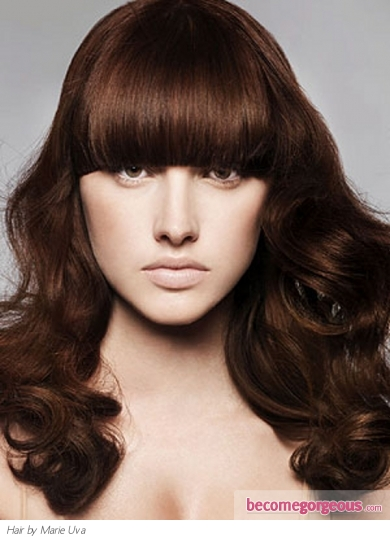 This dapper thick bangs long hair style is modern and allows you to juggle