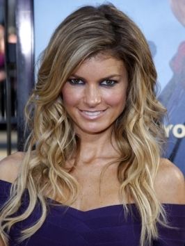 Shiny, thick end curls look amazing on Victoria's Secret hottie Marisa Miller's dimensional blonde hair. To copy the look, wrap hair around either large rollers or curling iron beginning at the ears.