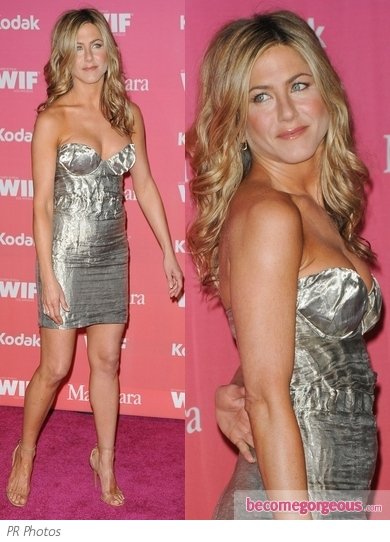 Jennifer Aniston in Prada Crinkle Bustier Dress