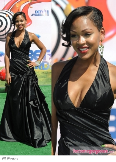 Meagan Good in Black Taffeta Halter Gown
