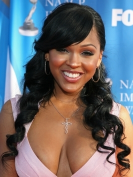 hairstyle meagan good long curly hairstyle with bangs meagan good