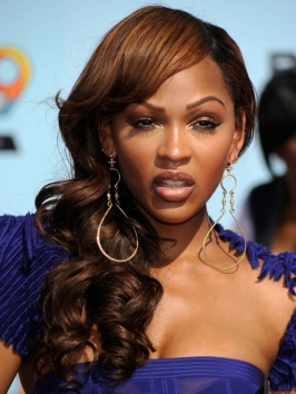 meagan good long curly hairstyle with bangs meagan good curly