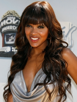 meagan good long curly hairstyle with bangs meagan good curly hairstyles with bangs 266x354