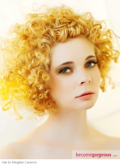 Punk Yellow Curly Hair Style