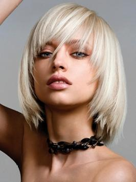 Blonde Layered Bob with Bangs