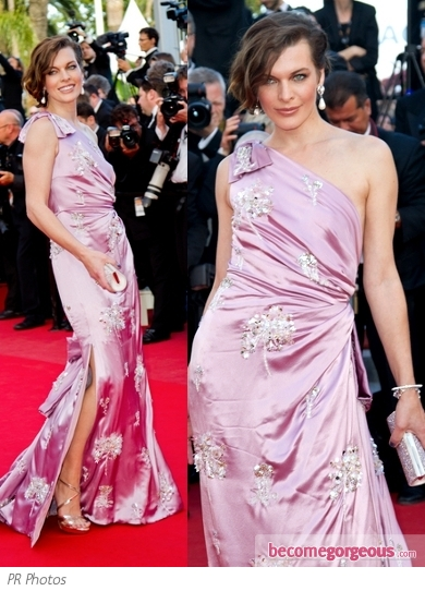 Milla Jovovich in Embellished Satin Gown