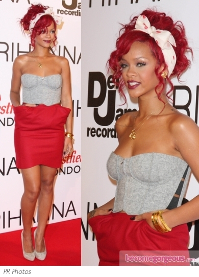 Rihanna in Bustier and Red Skirt