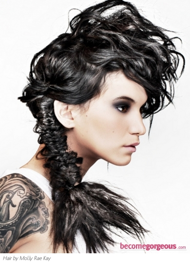 Edgy Braided Ponytail Hairstyle