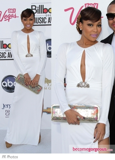 Monica Brown in White Gown