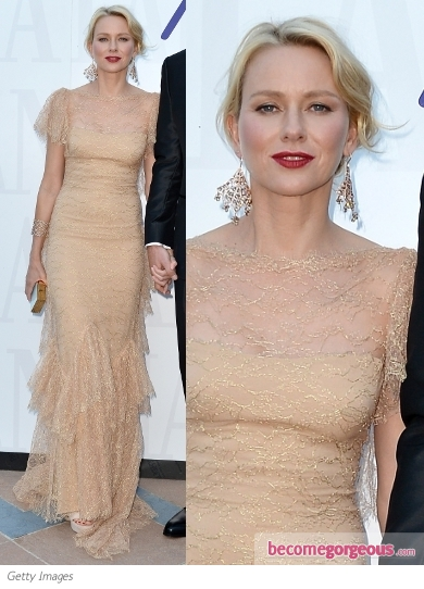 Naomi Watts in Marchesa Nude Lace Gown