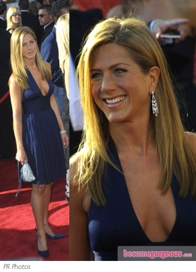 Jennifer Aniston in Blue Halston 70s Vintage Dress