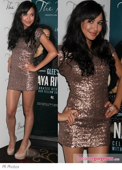 Naya Rivera in Bronze Sequin Mini Dress
