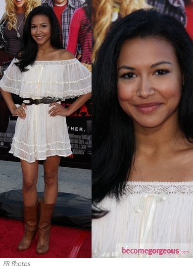 Naya Rivera hit up the Trevor Live 2012 event wearing this lace sleeve black mini dress from Dolce & Gabbana. Ankle-strap satin pumps finish off the look.