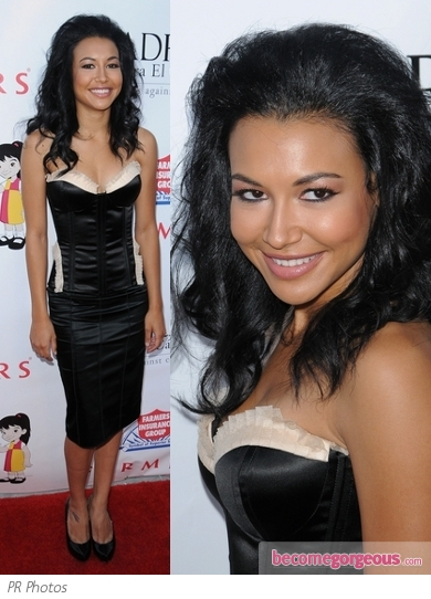 Naya Rivera in Black Corset and Skirt