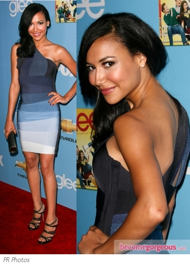 Naya Rivera in Herve Leger One Shoulder Dress