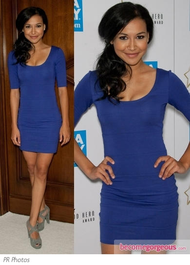 Naya Rivera in Blue Mid-Sleeve Dress