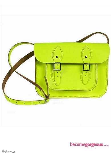 Small Neon Yellow Leather Satchel Bag