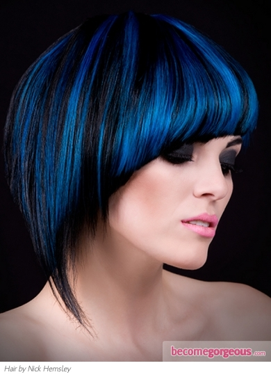 Black Hair and Blue Highlights