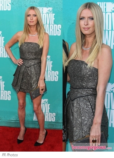 Nicky Hilton in Marco Marci Gray Dress