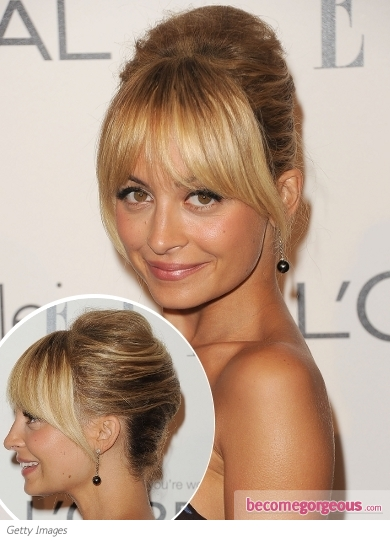 Nicole Richie Bumpy Updo with Bangs