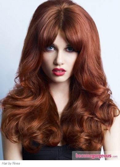 Long Red Big Hair Style
