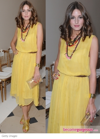 Olivia Palermo in Topshop Yellow Midi Dress