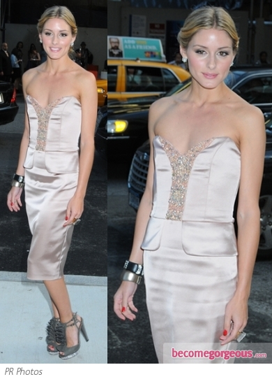 Olivia Palermo in David Meister Pink Dress