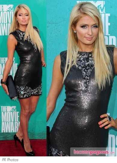 Paris Hilton in Gray Sequin Dress