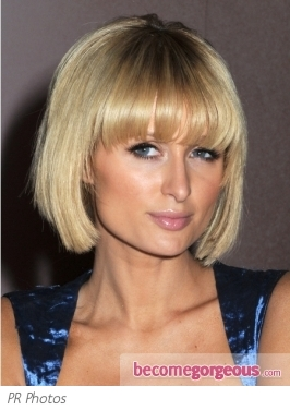 Paris Hilton's Blunt Bob Haircut with Bangs