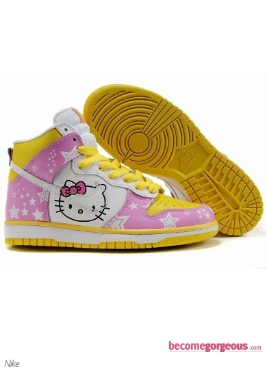 Nike Dunk High Hello Kitty White and Pink Shoes