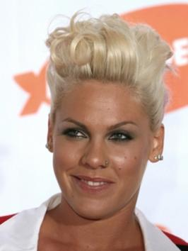 Pink with Short Curly Hairstyle