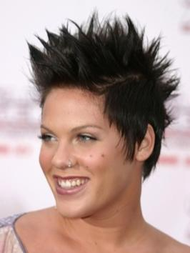 Pink with Brunette Fohawk Hairstyle