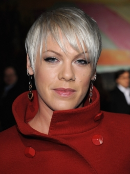 Pink's Platinum Blonde Short Haircut