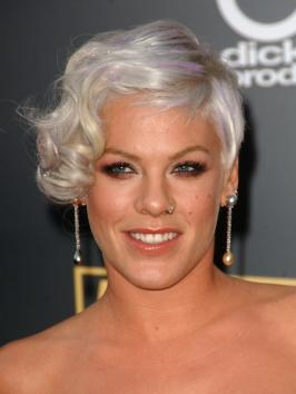 Pink with Asymmetric Curly Hairstyle