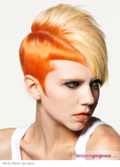 Orange Two Tone Hair Style