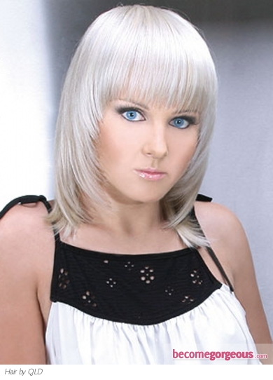 Platinum Medium Hair Style