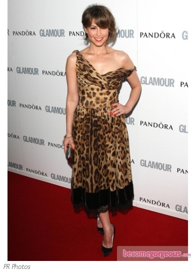 Rachel Stevens in Leopard Print Dress