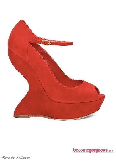 Alexander McQueen Red Velour Platform Wedges