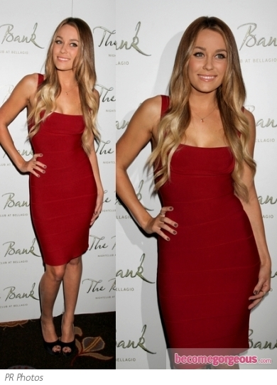 Lauren Conrad in Herve Leger Red Bandage Dress