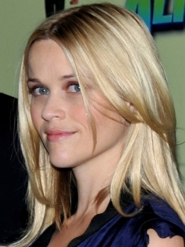 Reese Witherspoon's look features chest-length layers paired whispy bangs and her trademark high-maintenance shade of icy blonde.