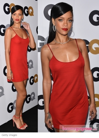 Rihanna in Calvin Klein Red Tank Dress