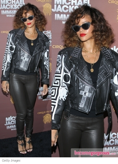 Rihanna in Leather Biker Jacket and Leggings